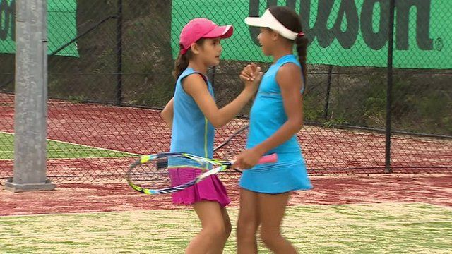 Young tennis players