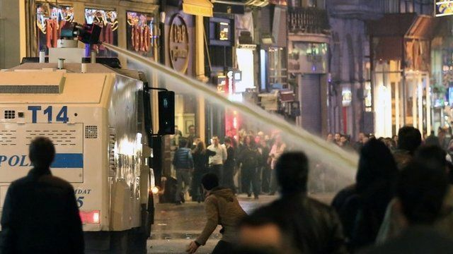 Turkish police use water cannon