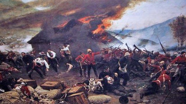 The Defence of Rorke's Drift, by de Neuville hangs at the Regimental Museum of The Royal Welsh, based at Brecon, Powys