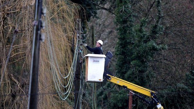 Power lines being repaired
