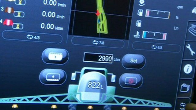Screenshot on console on farming equipment
