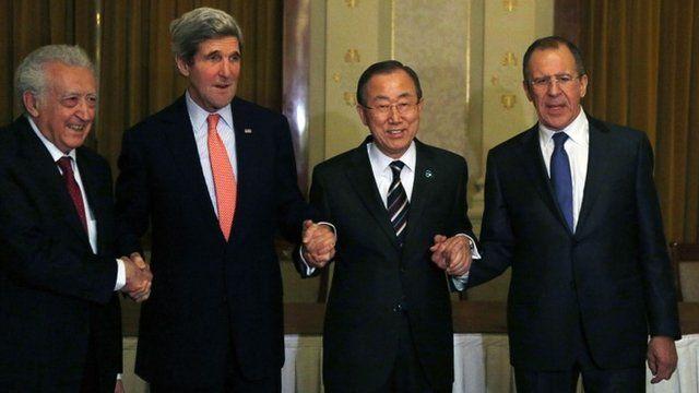 Lakhdar Brahimi, John Kerry, Ban Ki Moon and Sergei Lavrov