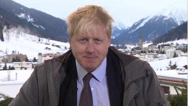 London mayor, Boris Johnson, speaks to the BBC from Davos