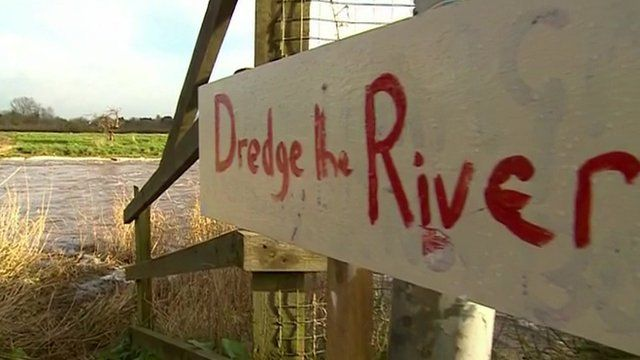 Sign by flooding in Somerset