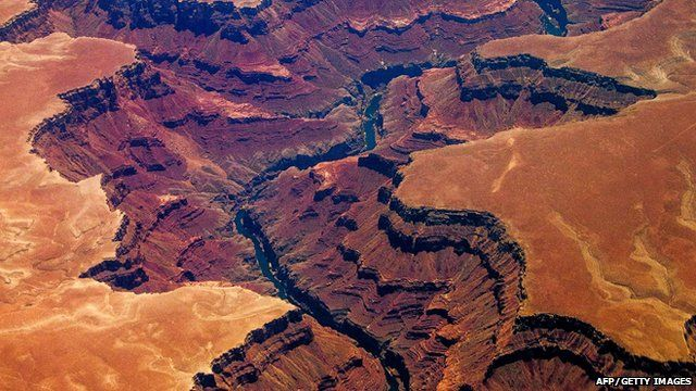 View of the Grand Canyon from the air