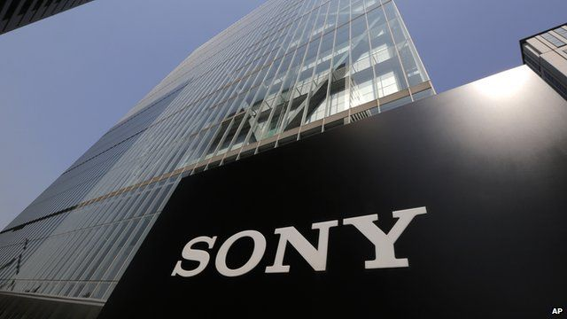 Sony's logo is seen outside the company's HQ in Tokyo