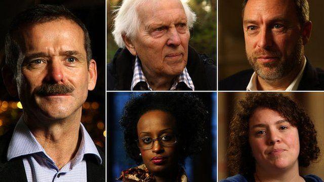 Chris Hadfield, Norman Kember, Jimmy Wales, Jess Thom, Leyla Hussein (clockwise)