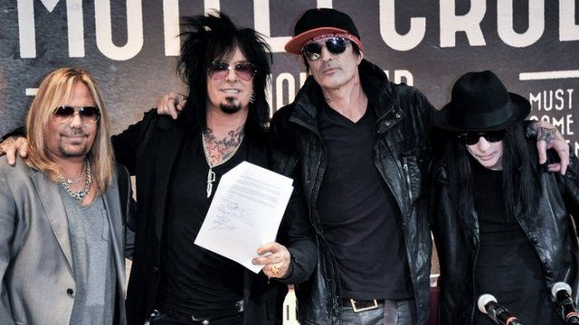 Vince Neil, Nikki Sixx, Tommy Lee and Mick Mars of Motley Crue