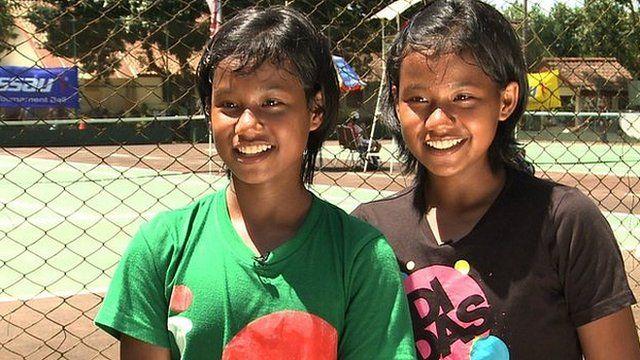 Young Indonesian tennis playing twins Fitriani Sabatini and Fitriana Sabrina Mastuti