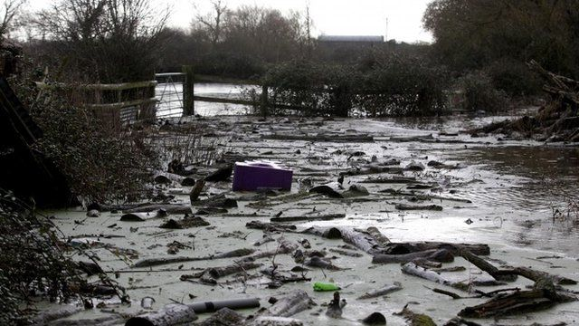Debris washed up by flood water is seen at James Winslade's farm in Moorland on January 28, 2014 in Somerset, England