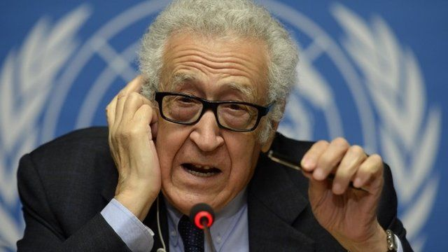 UN-Arab League envoy for Syria Lakhdar Brahimi gestures during a press conference on the Syrian peace talks at the United Nations headquarters on January 31, 2014 in Geneva