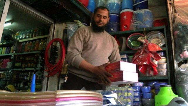 Jordanian shop worker