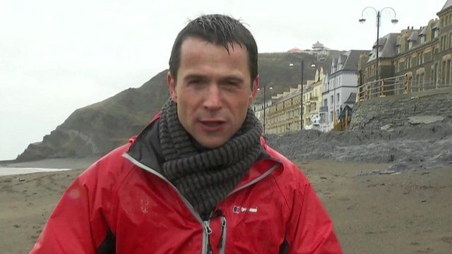 Hywel Griffith reporting from Aberystwyth
