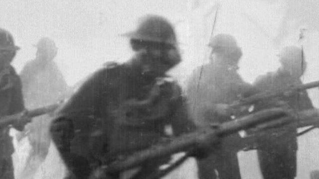 World War One soldiers in gas masks