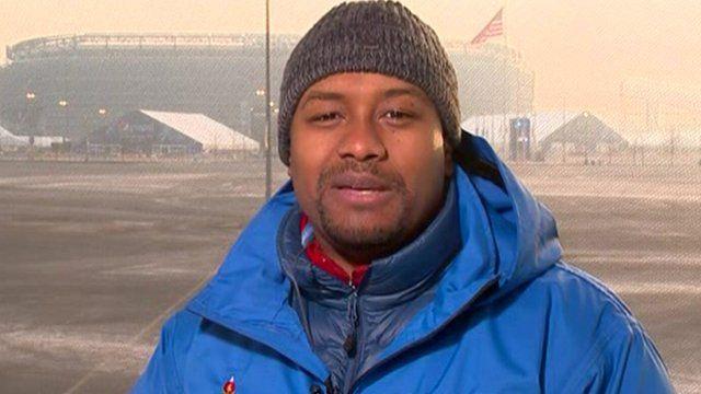 Tahman Bradley, outside the Giants Stadium in New Jersey