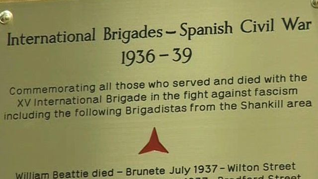 Plaque to Spanish Civil War volunteers