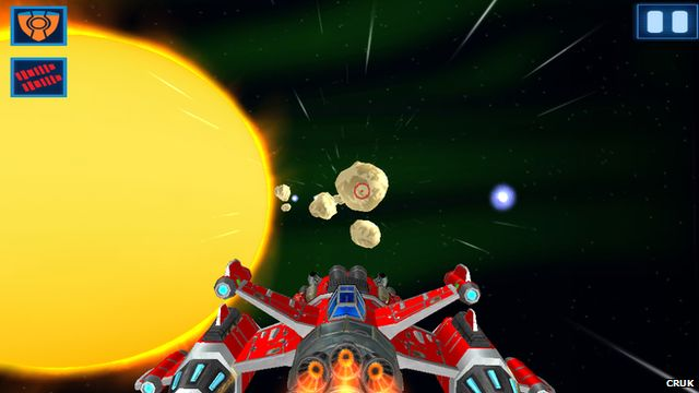 Picture of a spaceship battling obstacles in space