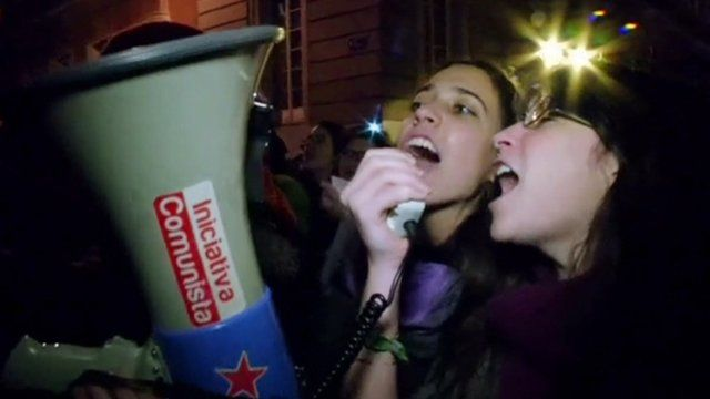 Two women with megaphone