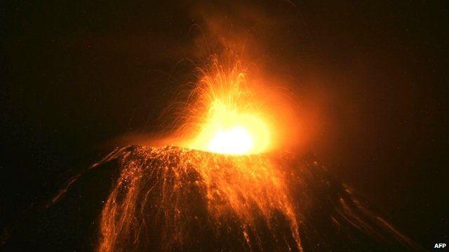 Lava spewed by the Tungurahua volcano