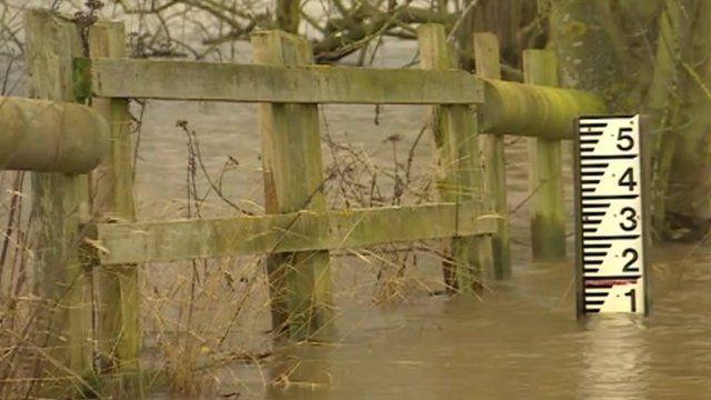 Flood gauge on river