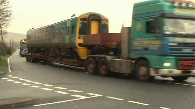 Train is moved by lorry