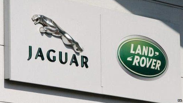 A view of the Jaguar Land Rover logo