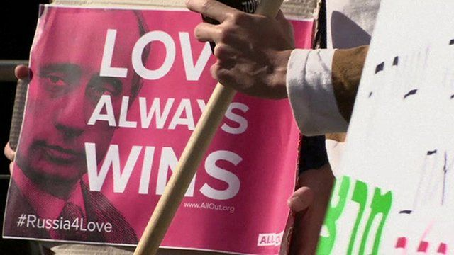 "A poster reads ""Love Always Wins"" at a gay rights protest in Jerusalem"