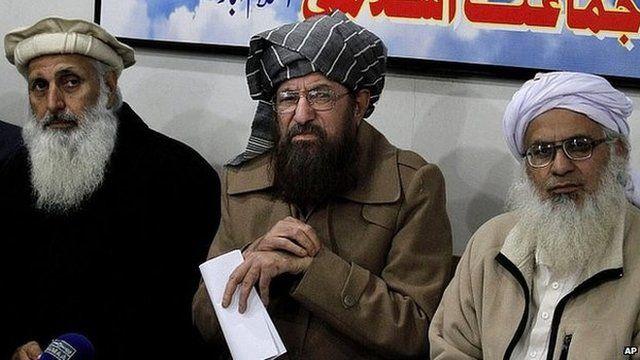 Taliban negotiators include, from left, Prof Ibrahim Khan, Maulana Sami-ul-Haq, and Maulana Abdul Aziz