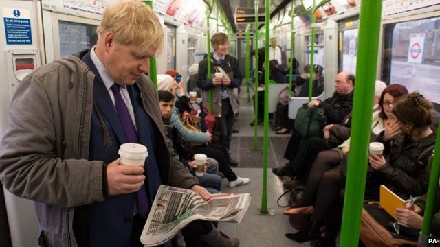 Boris Johnson takes the tube on the District Line from Southfields