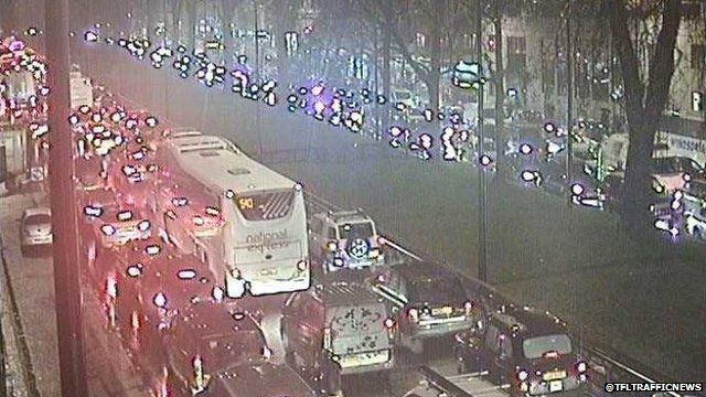 Traffic on Park Lane during the evening rush-hour