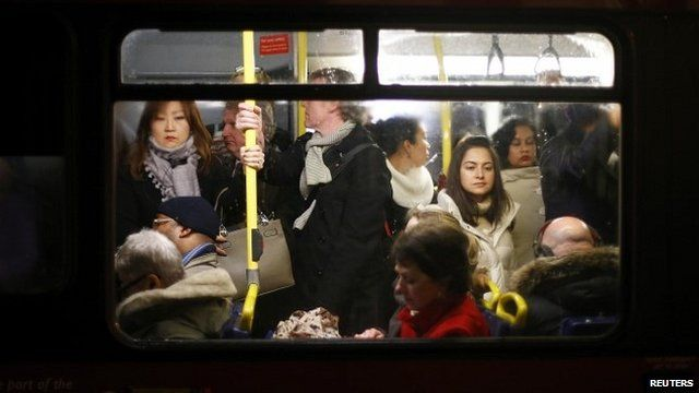 Passengers during the evening rush hour