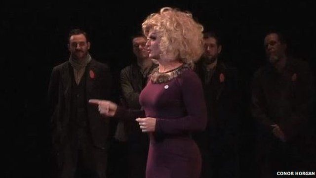 Panti Bliss giving a speech on homophobia at the Abbey Theatre in Dublin