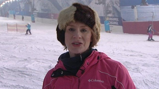 Anne McElvoy on ski slope in Hemel Hempstead