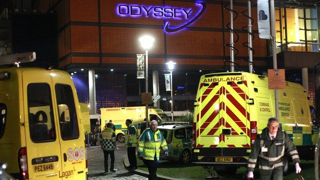 Ambulance crews attend a major incident at Belfast's Odyssey arena