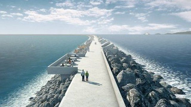 An artist's impression of how the lagoon in Swansea could look