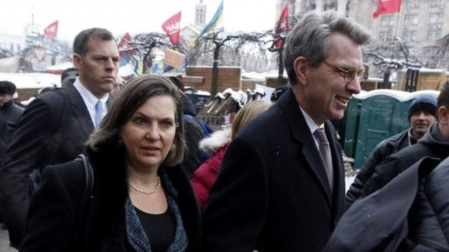 US Assistant Secretary of State for European and Eurasian Affairs Victoria Nuland and US Ambassador Geoffrey Pyatt