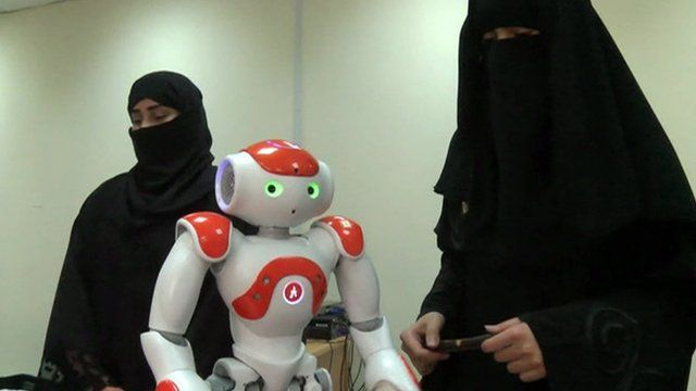 Women with robot
