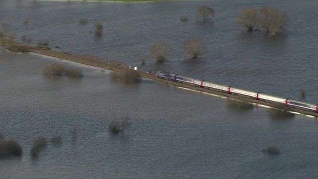 Train surrounded by water