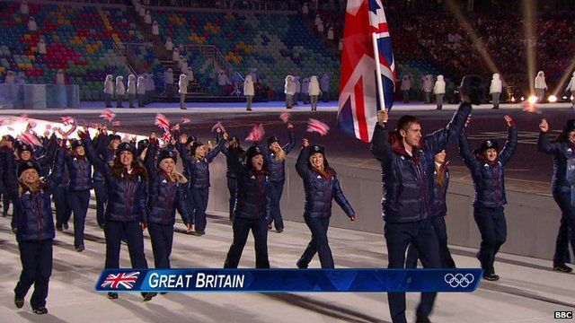 Britain's Olympic team taking part in Sochi Winter Olympics opening ceremony 2014