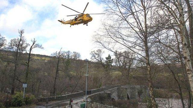 RAF helicopter in Llangynidr