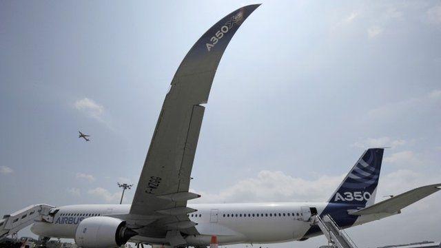 An Airbus A350-900 test plane