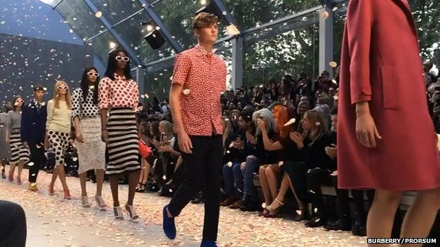 Burberry models on the catwalk