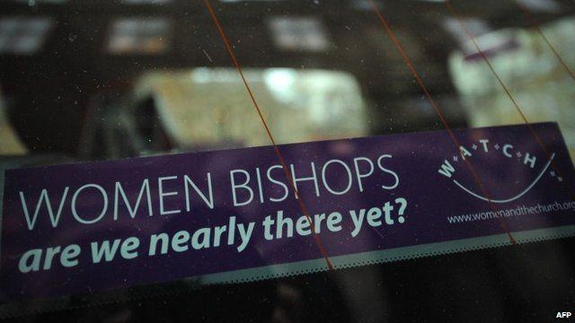 Banner advocating female bishops