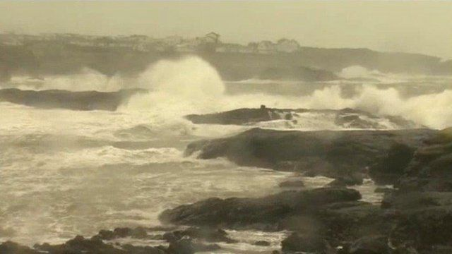 Stormy sea at Criccieth, Gwynedd