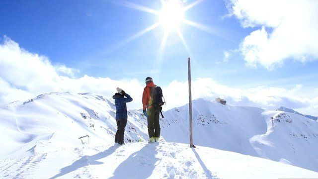 Avalanche researchers in the Swiss Alps