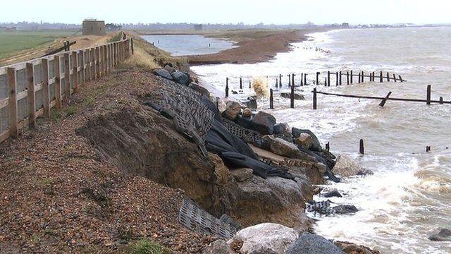 Damaged sea defences at Bawdsey