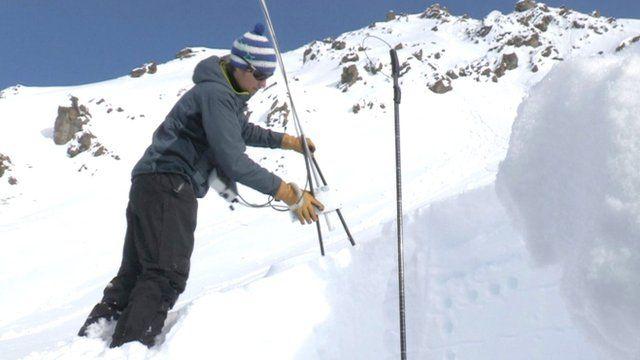 Researcher Ben Reuter using the snow micro pen