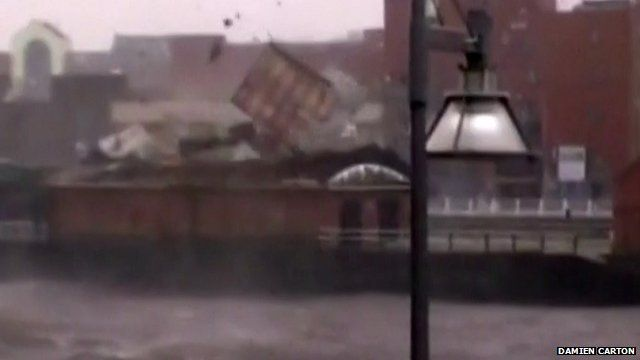 Roof blowing off Limerick Boat Club in west Ireland
