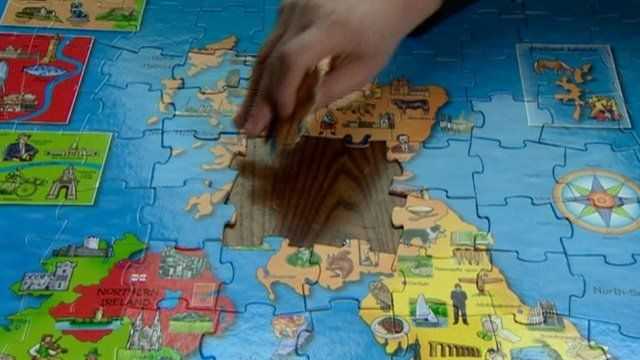 Jigsaw map with Scotland being removed