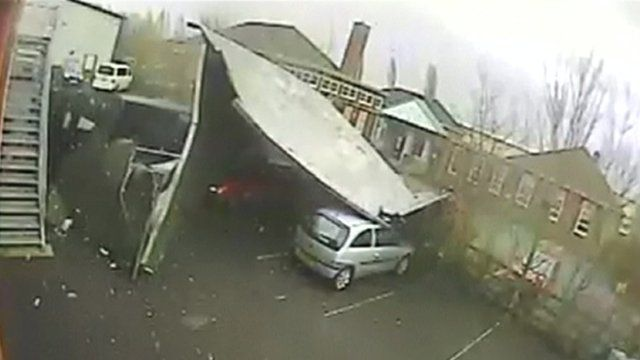The roof landing in Spring Care's car park